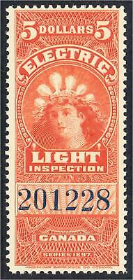 Canada Revenue Stamp FE16 $5 Electric Light Inspection Crown of Lightbulbs MNH