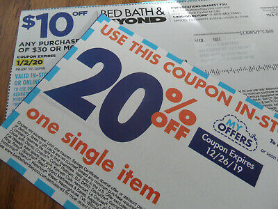 Three (3) BED BATH & BEYOND $10 OFF $30 COUPONS, One 20% off one item