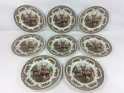 """8 New Royal Stafford The Victorian English Pottery Deer Buck Dinner Plates 11"""""""