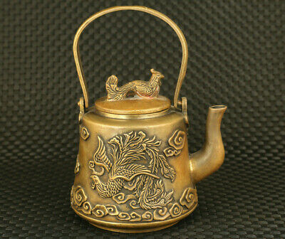 Chinese Rare old bronze Handcarved phoenix statue tea pot noble table decorate
