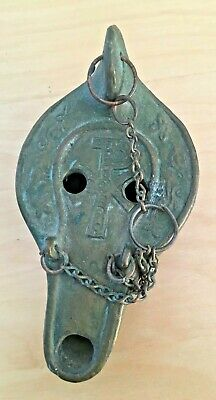 Antique Bronze Hanging Roman Oil Lamp with XP Chi Rho Bird Symbol