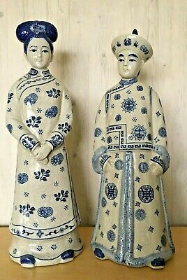 Pair Vintage Chinese Blue Crackle Glazed Porcelain Ancient Couple Figurines