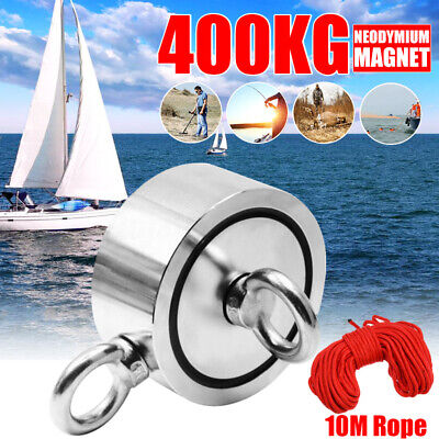 75mm 400KG Strong Powerful Magnet Detector Salvage Tool Recovery Fishing Rope !
