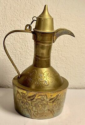 "Antique Islamic Old Brass Copper Coffee Pot Arabic Bedouin Dallah 8.75"" tall"