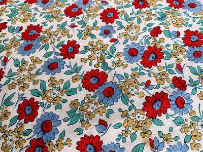 Beautiful Genuine Vintage 1940s Cotton Fabric, Red & Blue Floral   89 x 117cm