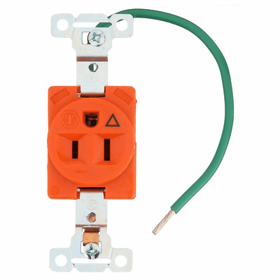 Bryant 5261-Ig 15A  125V  Nema 5-15R, 2P, 3W Isolated Grnd  Single Receptacle