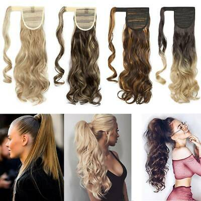 REAL Natural As Human Clip on in Ponytail Hair Extension Wavy Straight Hairpiece