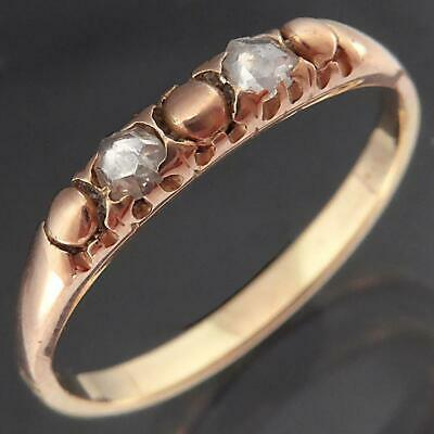Old Solid 14k Yellow Rose GOLD 2 Antique ROSE CUT DIAMOND ETERNITY RING Sz M