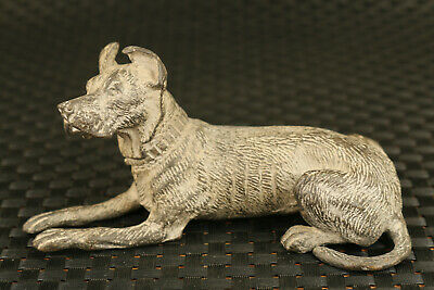 Only one old precious bronze hand carving dog statue home decorate noble gift