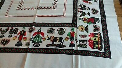 Vintage Ceramics by Paragon Linen Tablecloth Portuguese Peasant Fairs Ox Rooster