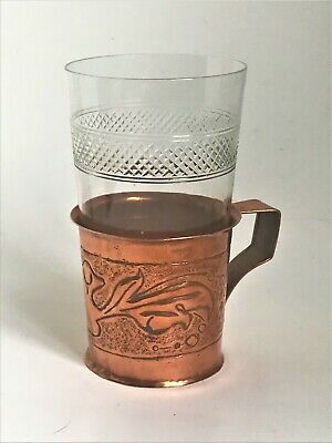Antique Handmade Arts & Crafts Copper Tea Glass Holder - c.1900