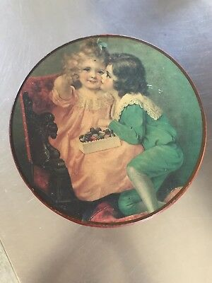 Antique Sweets Chocolates Round Tin Boy Kissing Girl