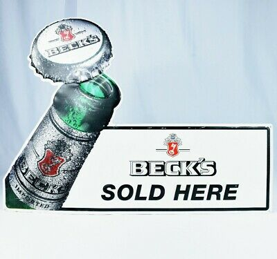 Beck's Exploding Beer Bottle Tin Metal Tacker Sign USA Made Man Cave Ready