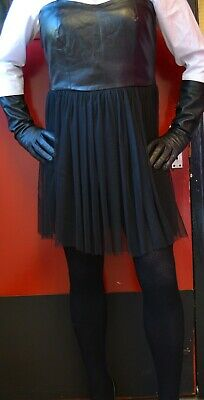 Fantastic So Sexy Black Faux Leather Mix Dress Mistress Domina Fetish  Tv/Cd