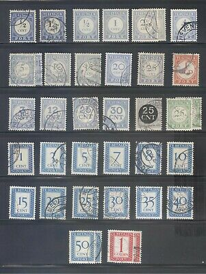 Small collection of Netherlands postage due stamps.