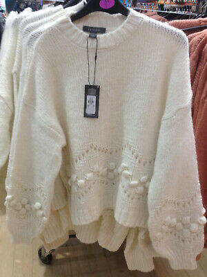 Ladies Jumper Knitted Brown or White Detailed Beautiful BNWT Sizes Xs to XL