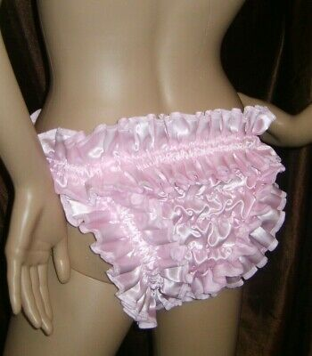 Prissy Sissy Maid Baby Pink Faux Satin Hugging elasticated Tanga Style Panties