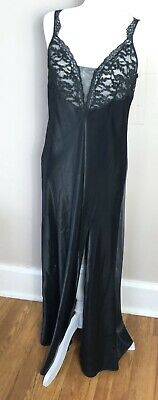 Vintage Large Victoria Secret Black Silky Satin And Lace Long Nightgown