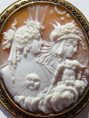 Antique-Large 18ct Gold Mounted Carved Naples Bay Shell Cameo-Nyx & Hemera-c1870