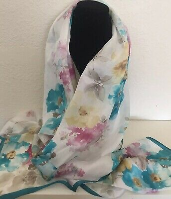 """Massimo Ravinale Firenze Silk watercolor floral 66X17"""" scarf wrap Italy"""
