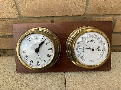 "Vintage 1950/60's Brass ""ESTYMA"" Mariner Clock & Barometer On Solid Wood"