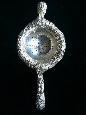 Antique S Kirk & Son Sterling Silver Repousse Over The Cup Ornate Tea Strainer 2