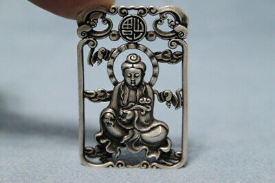 Collectable Decoration Miao Silver Carving Bodhisattva Auspicious Noble Pendant