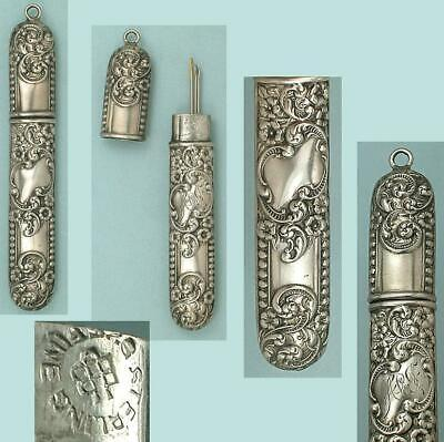 Antique American Sterling Silver Chatelaine Needle Case by Unger Bros. * C1890s