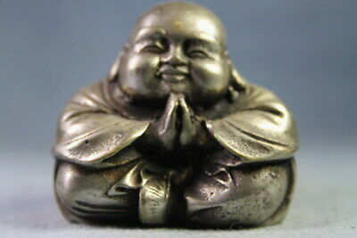 Handwork Wonderful Miao Silver Carving Monk Folded Hands Exquisite Noble Statue