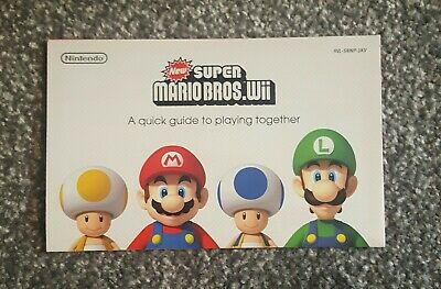New Super Mario Bros Quick Guide Manual Instruction Sheet Nintendo Wii