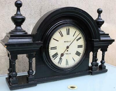 English 8Day Single Fusee Ebonised Railway Round Dial Wall Clock & Surround