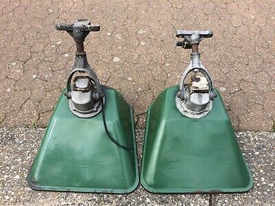 Vintage Industrial Green Enamel Ajustaflood Floodlights Large Lamps X2