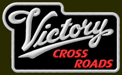 """VICTORY CROSS ROADS EMBROIDERED PATCH ~4-5/8"""" x 2-3/4"""" AUFNÄHER MOTORCYCLES V2"""