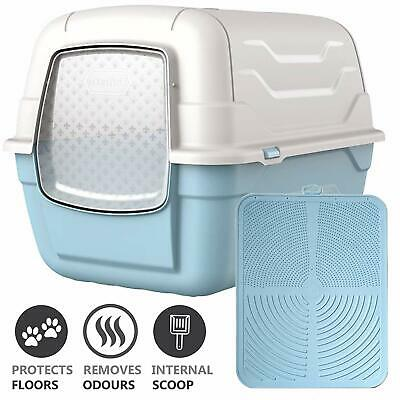 CatcentreⓇ Cat Large Filtered  Litter Tray Blue Filter Box Hooded Brand New