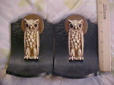 Antique Owl Cast Iron Bookends In Original Paint Collectible Doorstops Art Deco