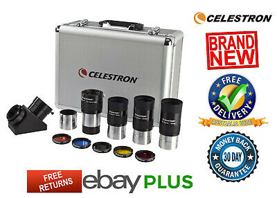 "Celestron 2"" Eyepiece & Filter Kit Diagonal Barlow Lens + Accessories 94305 NEW"
