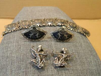 Siam Sterling Set Bracelet & 2 Pairs of Earrings Black & Silver Tone Vintage