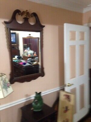 """Very Nice Mahogany Wood Carved Wall Mantle Mirror 43""""long 26"""" Wide And Depth 1""""."""