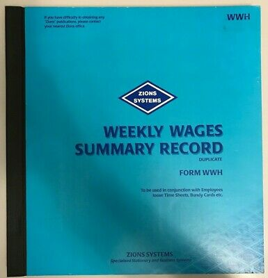 Zions Systems Weekly Wages Summary Record Book in Duplicate Form WWH Hardcover