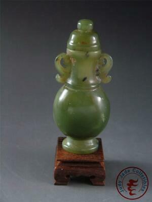 Antique Old Chinese Celadon Nephrite Jade Carved Bottle Vase Statue w/ Stand