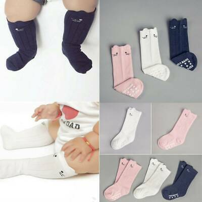 Baby Girls Cute Cotton Knee High Socks Anti-Slip Long Leg Warmer Kids Stockings
