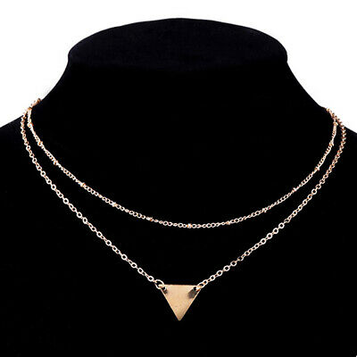 Women Choker Jewelry Sequins Pendant 2 Layers Triangle Necklace Bead Chain