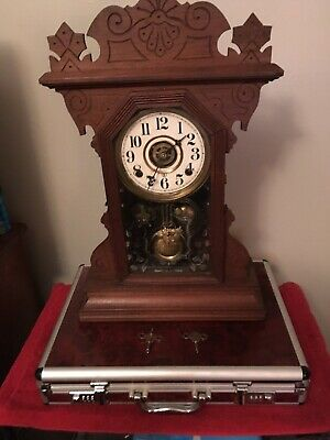 Antique Wooden Gingerbread Style Clock ( Working ) With Two Keys