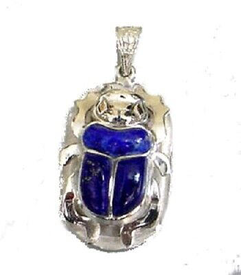 Egyptian Sterling Silver Scarab with Lapis Stone Pendant Jewelry