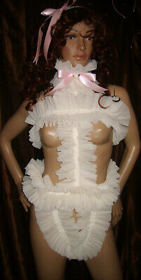 Prissy Sissy Maid Adult Baby CD/TV Lockable Slave Spanky Pant Trap & Padlock