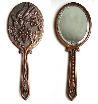 Antique Black Forest Carved Hand Mirror Grapes & Vines Bird Treen Initialed W