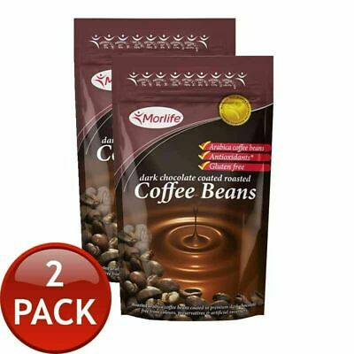 2 X Morlife Chocolate Coffee Beans Healthy Snack Nutrition Wholefood Arabica 1kg