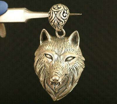 rare fine 925 silver hand carved wolf head statue pendant decoration gift