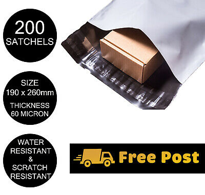 200 Poly Mailer 190x260mm Courier Bag Self Sealing Mailing Satchel PP500