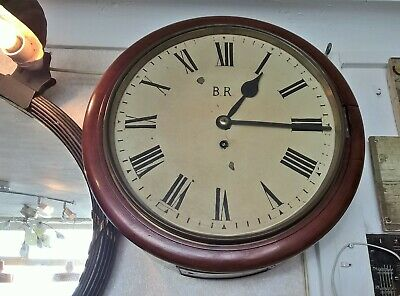 "British Railways Western Region 4889 Large 12"" Dial Fusee Mahogany Wall Clock"